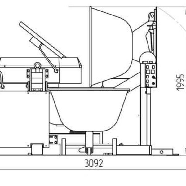 """Тестомесильная машина """"Прима-300Р"""" с загрузчиком опары схема 2"""