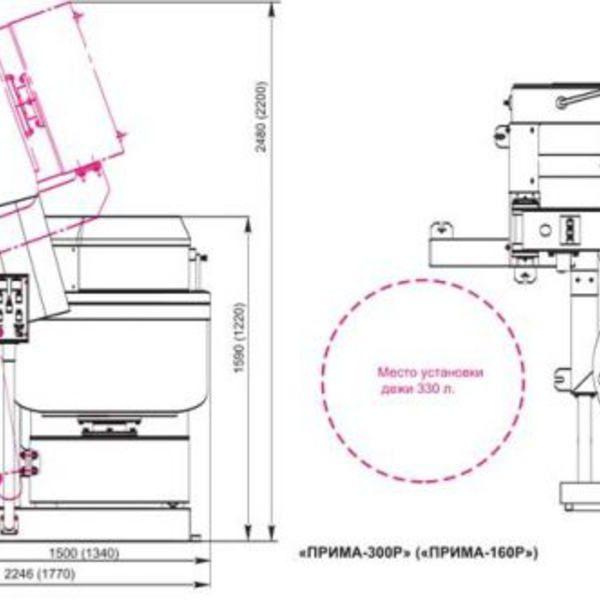 """Тестомесильная машина с гидравлическим опрокидывателем """"Прима-160Р"""" схема"""