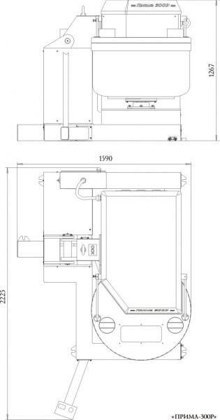"""Тестомесильная машина с гидравлическим опрокидывателем """"Прима-300P"""" схема"""